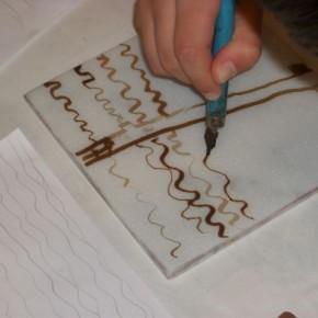 Dessin à la plume et encre lithographique sur marbre