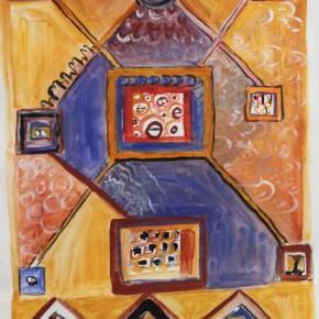 Travaux réalisés en ateliers par des adultes : quatre peintures utilisant des pigments, inspirées par des motifs orientaux.