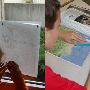 Atelier à l'école de Montrelais dans le cadre de la résidence de Pierrick Naud en 2010.