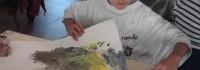 Peinture à l'école de Montrelais avec Evelyne-Winocq Debeire